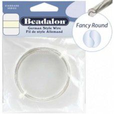 22 Gauge Fancy Round German Style Wire, 5M, Silver Plated