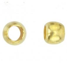 Beadalon Crimp Beads, Size #2 (2.5mm), Gold Plated, 1.5g pack