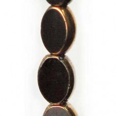 11x8mm Jet with Bronze Edge Small Oval Table Cut Beads, Strand of 16
