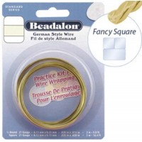 21 Gauge Fancy Square German Style Wire, 2.5M, Non Tarnish Brass