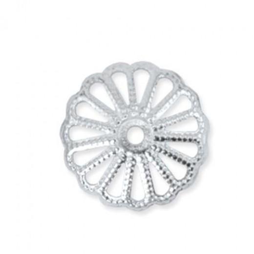 Beadalon 13.5mm Silver Plated Bead Cap, Pack 24