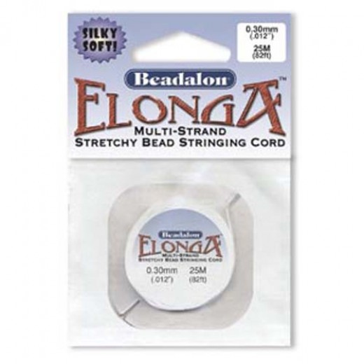 Elonga Elastic Thread, White, 0.3mm, 25M