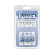 Beadalon Crimp Tube Variety Pack, Mixed Sizes, Silver Plated