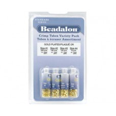 Beadalon Crimp Tube Variety Pack, Mixed Sizes, Gold Plated