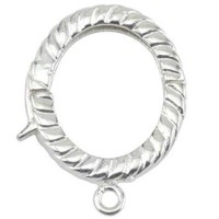 Small Oval With Ring Enhancer Bails, 15 x 21mm, Silver Plated, 4 Pack