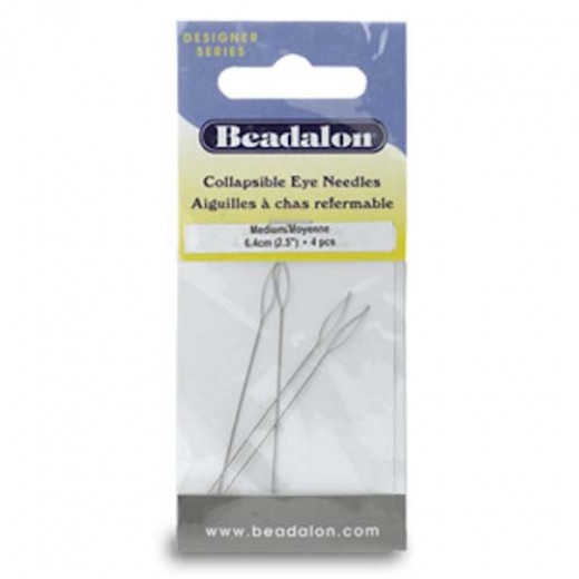Beadalon 700M-100 Collapsible Eye Needles, 2.5 Inch, Medium, 4 Pack