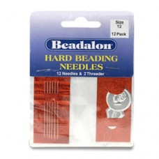 Size 12  Hard Beading Needles, 2.12 Inch, 12 Pack, from Beadalon