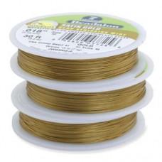 "Beadalon JW01NG-1, 7 Strand Wire, Satin Gold Colour, 0.012"", 100ft Reel"