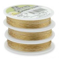 "JW02NG-15FT-C, 7 Strand Crinkle Wire, Satin Gold, 0.015"", 15ft Reel"