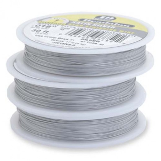 "Beadalon JW09NS-0 19 Strand Wire, Satin Silver, 0.012"", 30ft Reel"