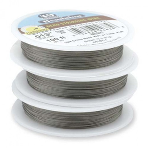 "Beadalon JW22T-0 49 Strand Beading Wire, Bright, 0.021"", 30ft Reel"