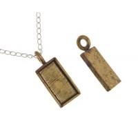 100% Antique Brass Handmade Bezel, Rectangle Pendant, 21 x 11mm