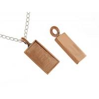 100% Copper Handmade Bezel, Rectangle Pendant, 21 x 11mm