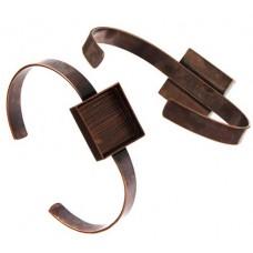 100% Antique Copper Handmade Bezel, Bracelet Cuff, Square 21x4mm