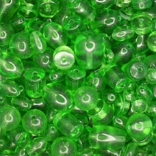 Assorted Style Indian Glass Beads, Green, 250g