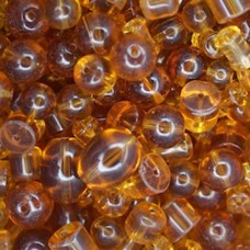 Assorted Style Indian Glass Beads, Topaz, 250g