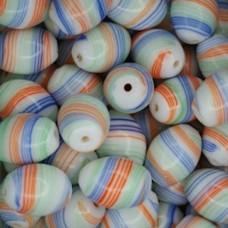 Glazed 12x18mm Oval, Orange & Blue, Pack of 10