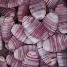 Matt Glass Swirls, Oval 28x17mm, Pink, pack of 5