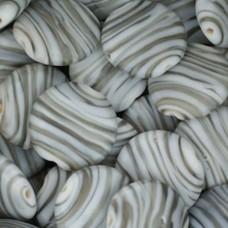 Matt Glass Swirls, Round Disc 20mm, Grey, pack of 5