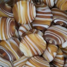 Matt Glass Swirls, Round Disc 25mm, Brown, pack of 5