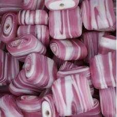 Matt Glass Swirls, Square Disc 15mm, Pink, pack of 5