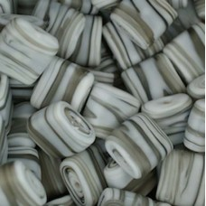 Matt Glass Swirls, Square Disc 15mm, Grey, pack of 5