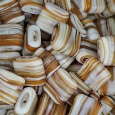 Matt Glass Swirls, Square Disc 15mm, Brown, pack of 5