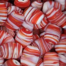 Matt Glass Swirls, Pillow Shaped 19x15mm, Red, pack of 5