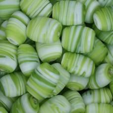 Matt Glass Swirls, Pillow Shaped 19x15mm, Green, pack of 5