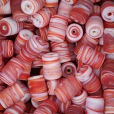 Matte Glass Swirls, 10 x 14mm Tubes, Red, Pack of 10
