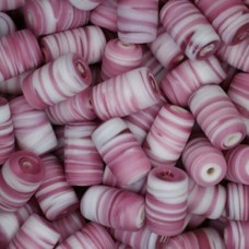 Matte Glass Swirls, 10 x 14mm Tubes, Pink, Pack of 10