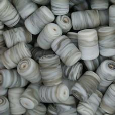 Matte Glass Swirls, 10 x 14mm Tubes, Grey, Pack of 10