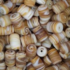 Matte Glass Swirls, 10 x 14mm Tubes, Brown, Pack of 10