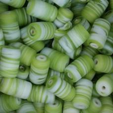 Matte Glass Swirls, 10 x 14mm Tubes, Green, Pack of 10