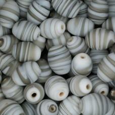 Matt Glass Swirls, Ovals, 10x13mm, Grey, pack of 5