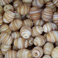 Matt Glass Swirls, Ovals, 10x13mm, Brown, pack of 5