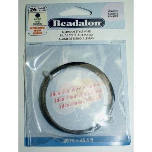 26 Gauge Round German Style Wire, 20M, Hematite