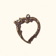 Heart Shaped Pendant Frame, Antique Brass Finish