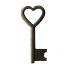 Heart Shaped Key, Antique Brass Finish
