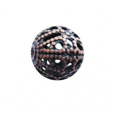 Round Filligree Bead in Antique Copper finish, 10mm diameter