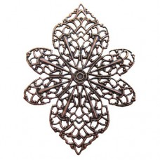 47 x 60mm Flat Filligree Wrap, Antique Copper Finish