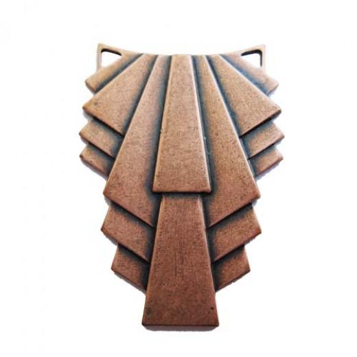 Ruffled filigree component in Antique Copper finish, 20 x 30mm
