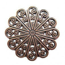 Circular Filligree Component, Antique Copper Finish