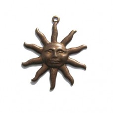 Sun Charm in Rustic Sable finish, 30 x 25mm