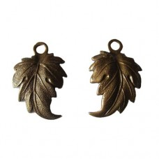Pair of Mirror Image Turning Leaves in Rustic Sable finish, 21 x 14mm 2 pcs
