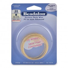 24 Gauge Fancy Square German Style Wire,  4M, Non Tarnish Brass
