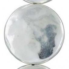 29mm Flat Hammered Circle Bright Silver