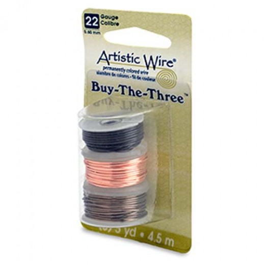 22 Gauge Three Pack of wire, Black, Natural and Gunmetal.  4.5m of each