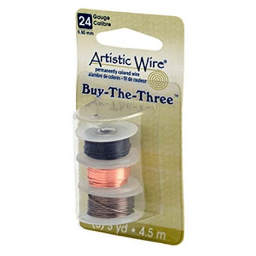 24 Gauge Three Pack of wire, Black, Natural and Gunmetal.  4.5m of each