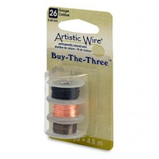 26 Gauge Three Pack of wire, Black, Natural and Antique Brass, 4.5m of each